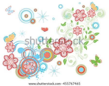 Collection of decorative vintage floral designs with abstract butterflies.
