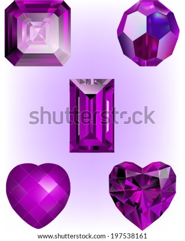 Collection of Deep Purple Crystal Bead vectors.