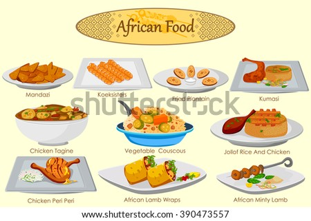 Collection delicious african food vector stock vector for Art of indian cuisine