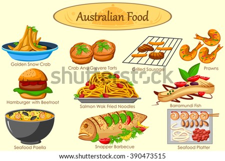 Collection of delicious Australian food in vector - stock vector