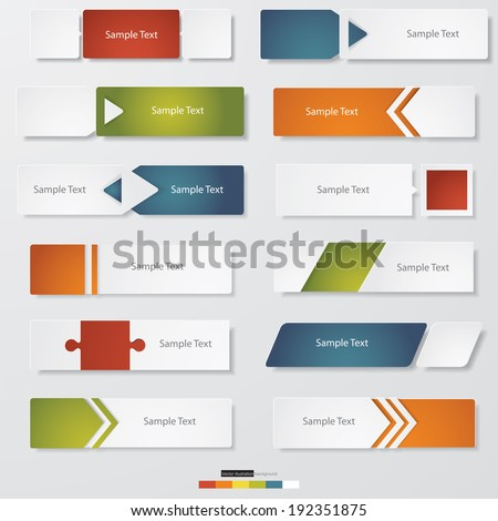 collection of 12 Design clean number banners template/graphic or website layout. Vector. - stock vector