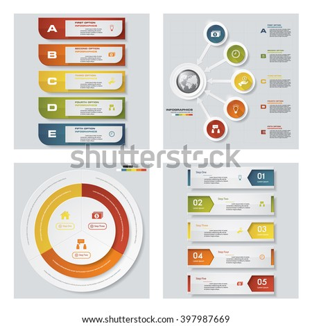 Collection of 4 design colorful presentation templates. Vector Background. For your idea and presentation. - stock vector