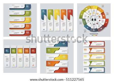 Collection of 6 design colorful presentation templates. Vector Background. For your idea and presentation.