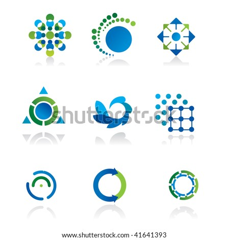 Collection of 9 design elements and graphics in green and blue color - stock vector
