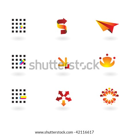 Collection of 9 design elements and graphics in orange,red, cmyk color - stock vector