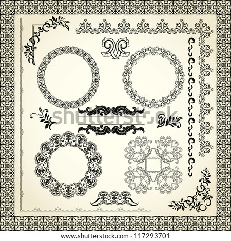 Collection of design elements, borders, frames, corners etc - stock vector