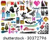 Collection of 50 design elements. Use these items to create artworks, flyers, covers and advertisements. - stock vector