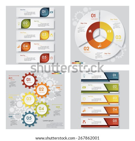 Collection of 4 design template/graphic or website layout. Vector Background. For your idea and presentation. - stock vector