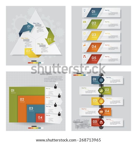 Collection of 4 design template/graphic or website layout. Vector Background. For your idea and presentation.