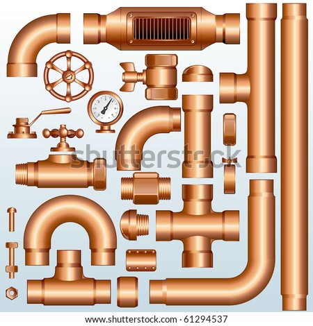 Collection of detailed Brass Pipeline construction pieces:Vector pipes, fittings, valves, faucet, ells, flange, couplers, parts...--to see similar images, please visit my Gallery - stock vector