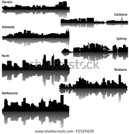 Collection  of Detailed vector silhouettes of Australian cities - stock vector