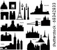 Collection of Detailed vector silhouettes of European famous monuments - stock vector