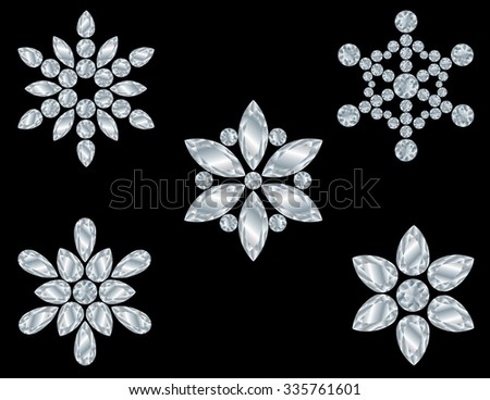 Collection of Diamond Snowflakes Isolated on Black
