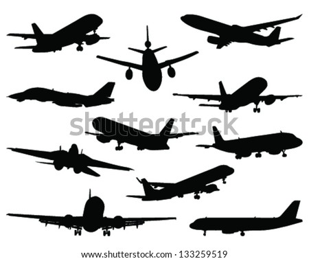Collection of different airplane silhouettes 2-vector - stock vector