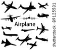 Collection of different airplane silhouettes. Vector illustration. - stock photo