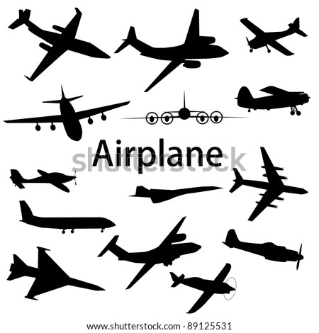 Collection of different airplane silhouettes. Vector illustration. - stock vector