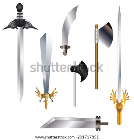 Collection of different ancient weapon - stock vector