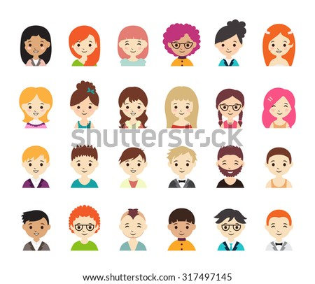 Collection of different avatars with men and women. Vector illustration with cute men and women, flat style. Men and women in different dress styles. - stock vector