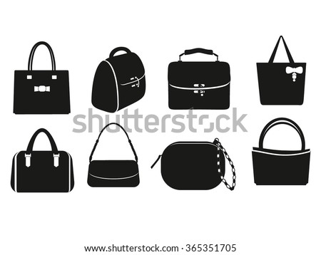Collection of different bags, clutches, purses handbags. Vector set of black and white silhouette  different styles female bags. Bag isolated. Women Bag silhouette set. - stock vector