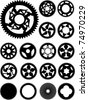 Collection of 17 different bike cogs shapes. - stock vector