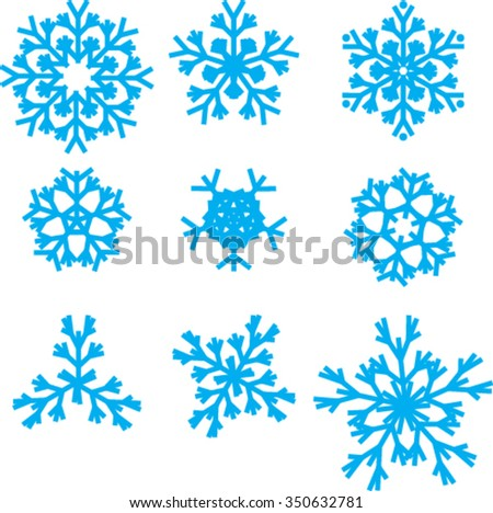 Collection of different blue snowflakes on white background. Vector Art, Stock Vector - stock vector