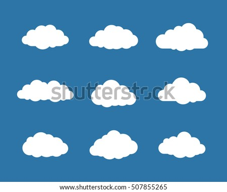 Collection of different cloud icons. Vector illustration of cloud symbols on blue background