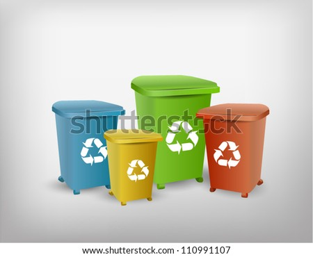 Collection of different color recycle bins