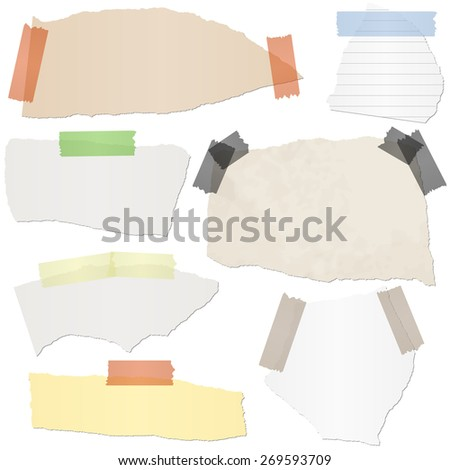 collection of different colored scraps of papers with adhesive strips - stock vector