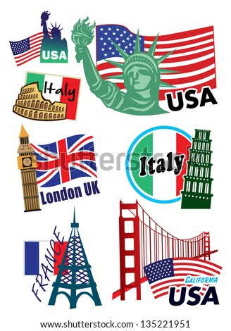 Collection of different country suitcase-stickers - stock vector