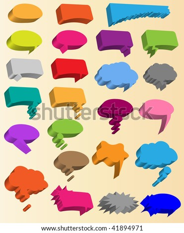 Collection of different 3d vector shapes for comics or web speech bubbles. - stock vector