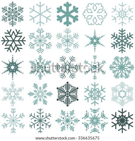 collection of different detailed snow flakes for christmas time - stock vector