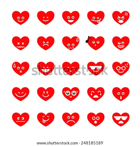 Collection of different emoji heart faces isolated on the white background - stock vector