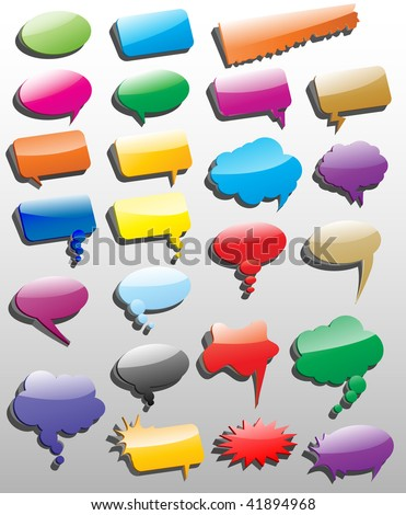 Collection of different empty vector 3D shapes of speech bubbles for comics or web. - stock vector