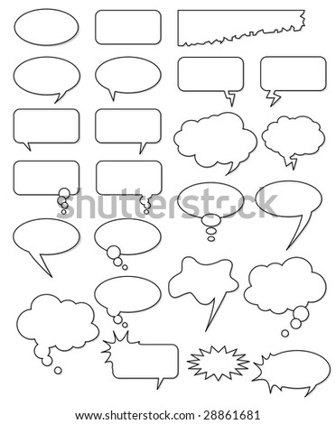 Collection of different empty vector shapes for comics or web. Add text, easy to edit, any size. - stock vector