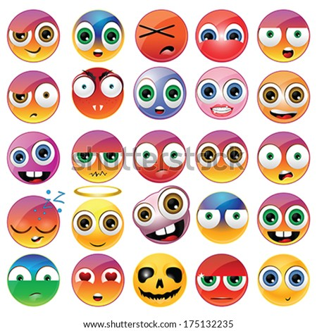 Collection of different faces - stock vector