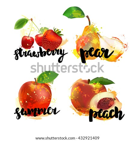 Collection of different fruits. Strawberry, pear, apple, peach with hand drawn lettering. Fruits for fresh juice bar menu. Vector fruits. - stock vector
