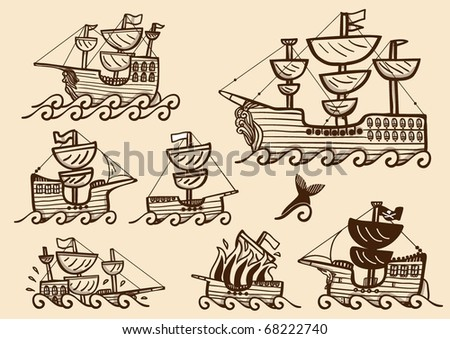 Collection of different galleons, brigs and ancient ships, in sepia color - stock vector