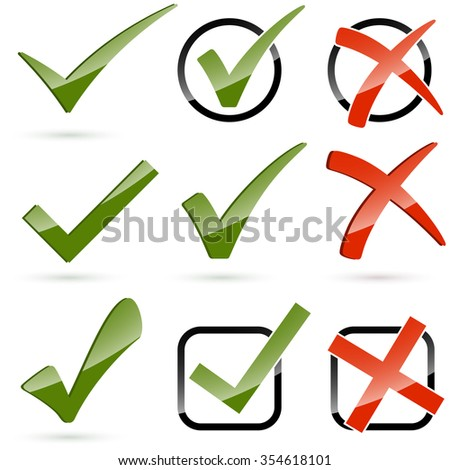 collection of different green hooks and red crosses - stock vector