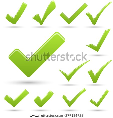 collection of different green hooks with shadow - stock vector