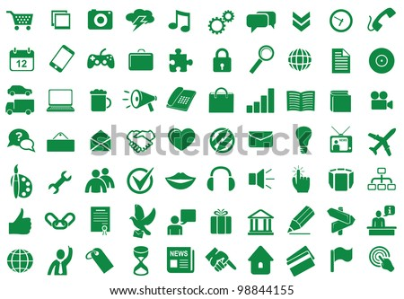 Collection of different icons for using in web and interface design - stock vector