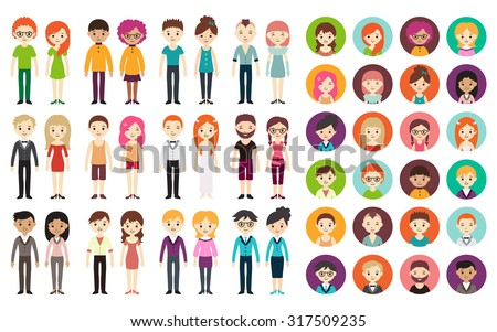 Collection of different men and women in business clothes and free-style clothes. Vector illustration with businessman and businesswoman, flat style. Round avatars with men and women. - stock vector
