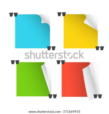 Collection of different paper messages. Blank quoting template - stock vector
