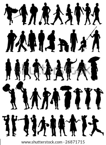 collection of different people vector silhouettes - stock vector