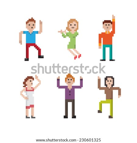 Collection of different pixel art style dancing people - stock vector