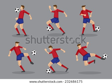 Collection of different poses of soccer player in red jersey with soccer ball. Vector illustration isolated on grey background. - stock vector