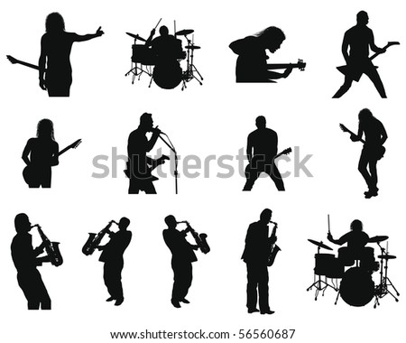 Collection of different rock and jazz silhouettes. Vector illustration. - stock vector