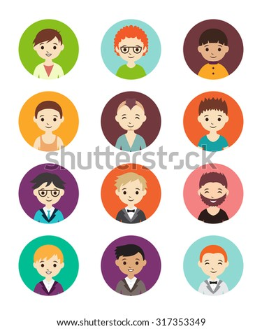 Collection of different round avatars with men. Vector illustration with cute men, flat style. Men in different dress styles. - stock vector