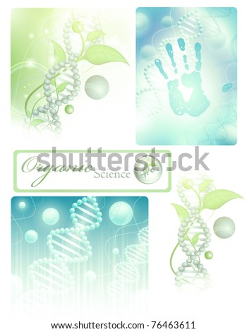 collection of different science themes with DNA - stock vector