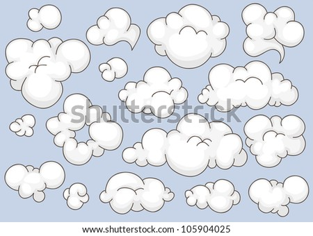 Collection of different shaped cartoon clouds - stock vector