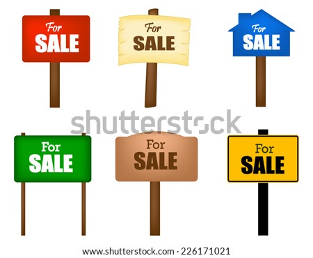 Collection of different shaped sale notice boards isolated on white background  - stock vector